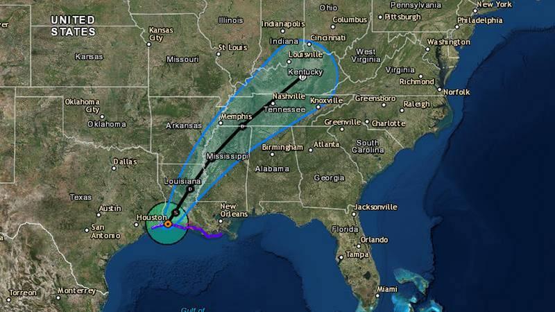 Trayectoria cíclica de la tormenta tropical Harvey y su previsible retirada hacia Tenesee desde Luisiana