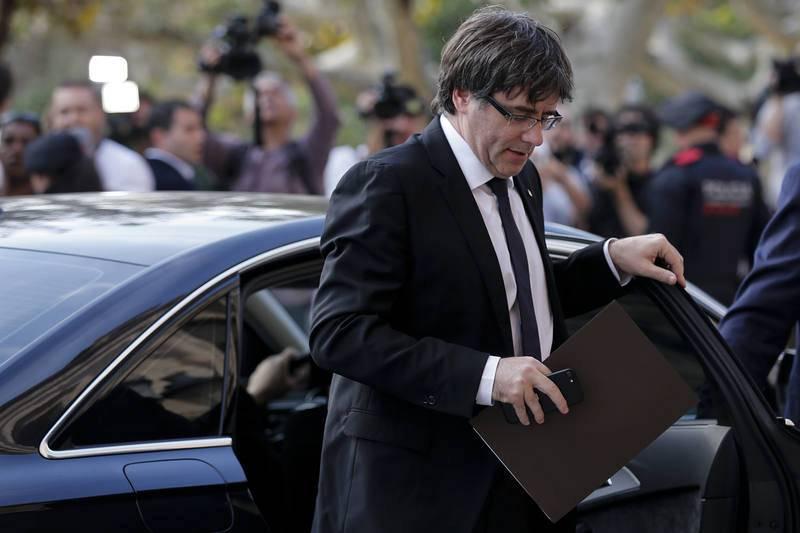 Carles Puigdemont a su llegada al Parlament