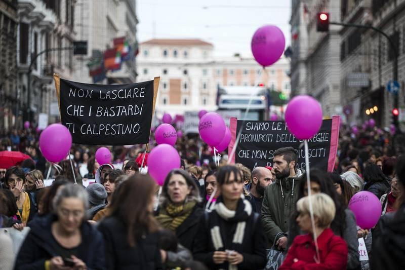 Marcha en Roma por la eliminación de la violencia de género