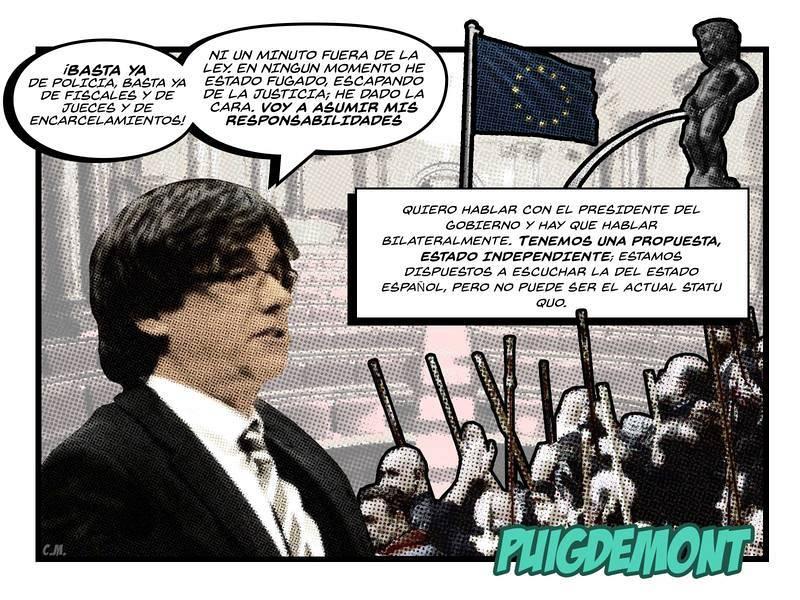 El cómic del 21-D   Puigdemont, desde Bruselas