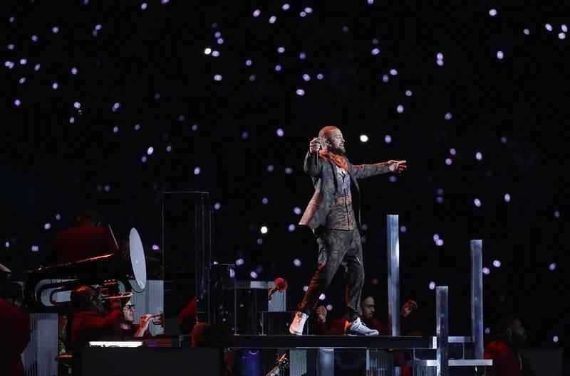 Justin Timberlake, durante su actuación en el intermedio de la Super Bowl