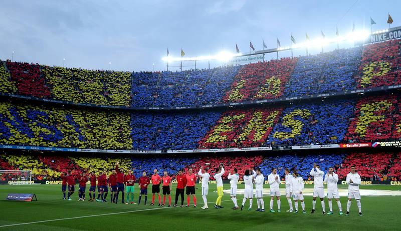 El Camp Nou lucía radiante para el clásico.