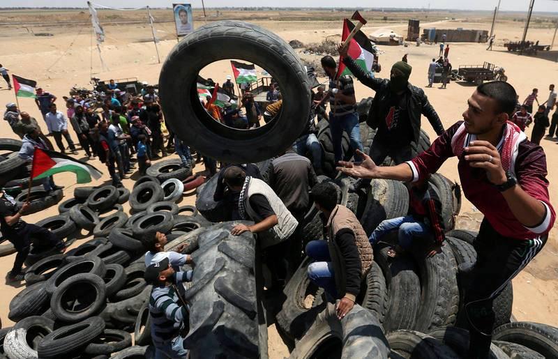 Protesta en Palestina con motivo del 70 aniversario de Nakba