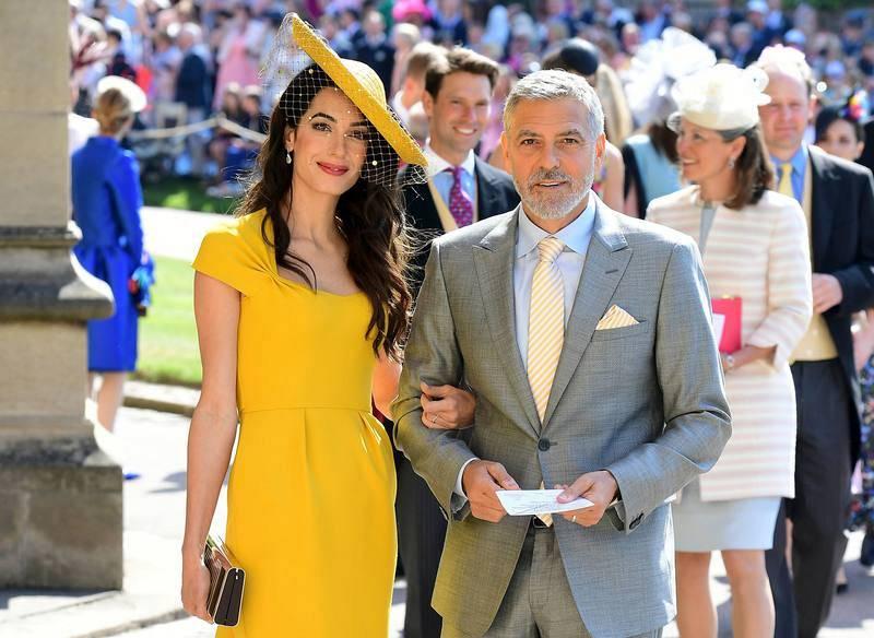 El actor George Clooney y la abogada Amal Clooney, a su llegada a la ceremonia