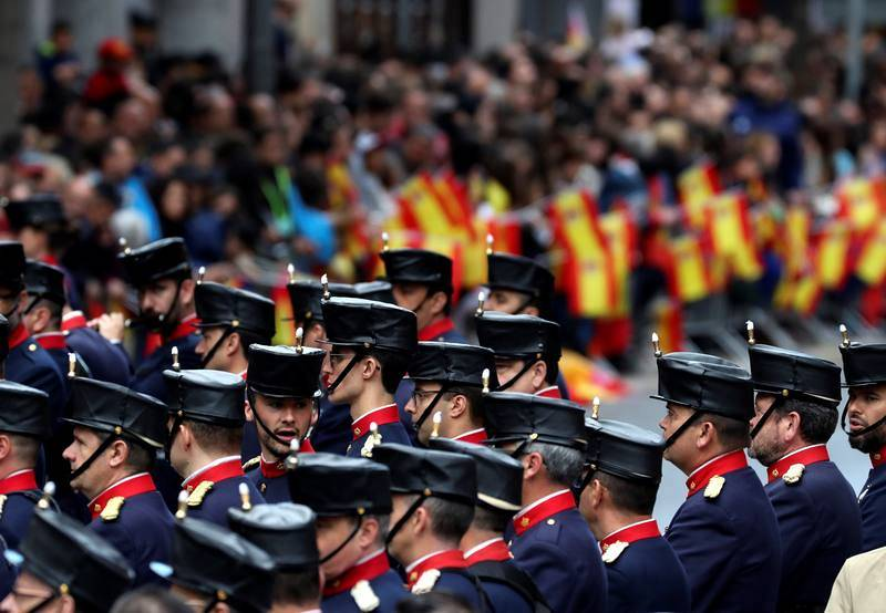 Miembros de la Guardia Real, antes de participar en el desfile