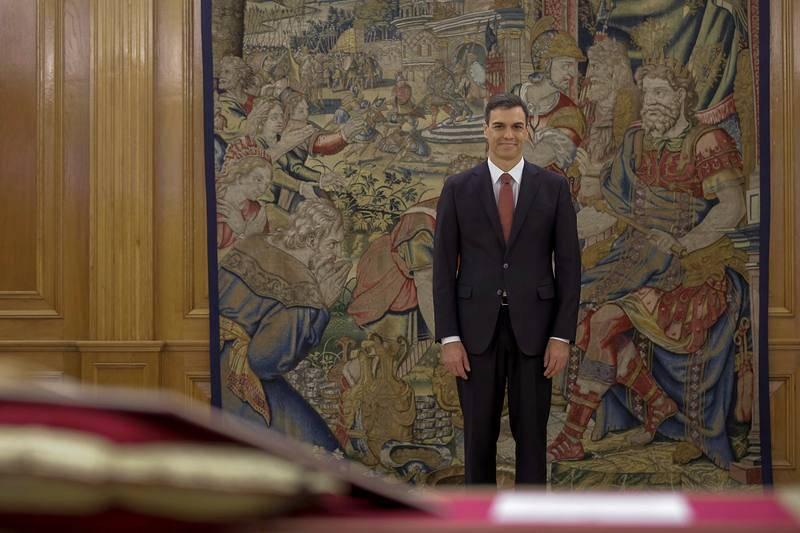 Pedro Sánchez, momentos antes de prometer ante el rey el cargo de presidente del Gobierno