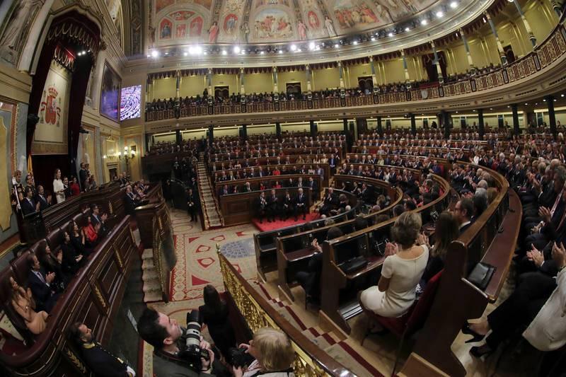 El hemiciclo del Congreso, lleno para conmemorar la Constitución