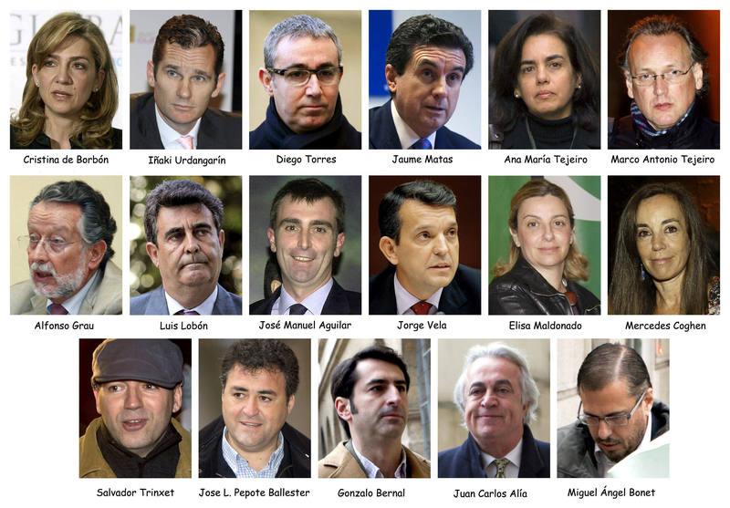 Los 17 acusados del caso Nóos
