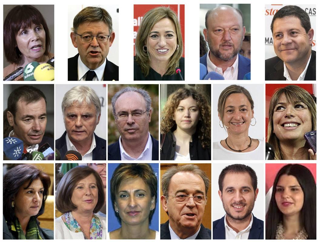 Los 17 dimisionarios de la Ejecutiva Federal del PSOE