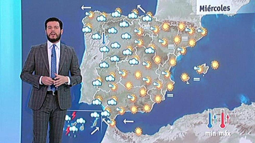 Alerta naranja por lluvias en Canarias y cielo cada vez más despejado en la Península