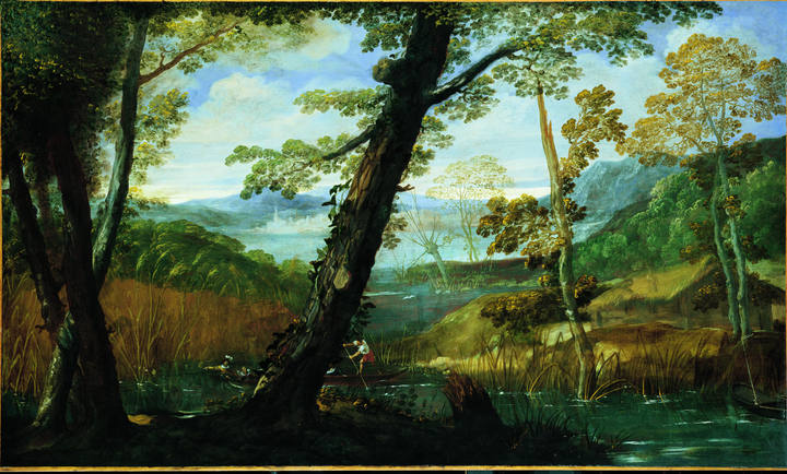 Aníbal Carranci (1560-1609). 'Paisaje fluvial' (hacia 1590-1599). Óleo sobre lienzo. Prestado por la National Gallery of Art de Washington, Samuel H. Kress collection.