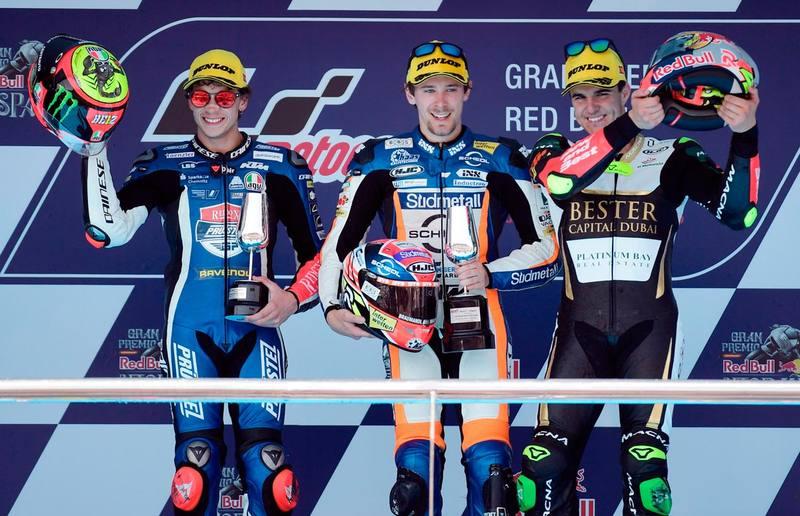 Así quedó el podio de Moto3.