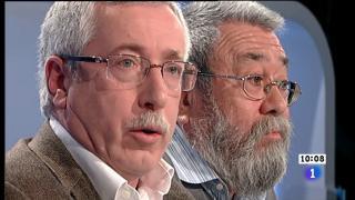 Los desayunos de TVE - Cándido Méndez, secretario General de UGT, e Ignacio Fernández Toxo, secretario General de CC.OO.