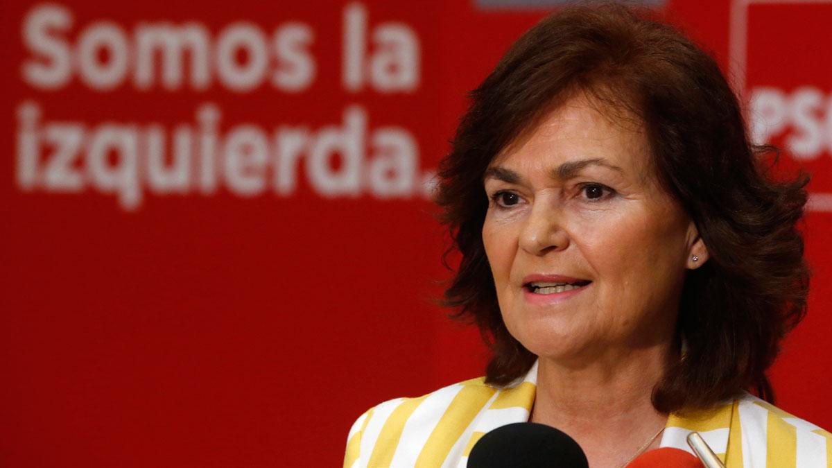 Carmen Calvo afirma que el PSOE convocaría elecciones en meses si gana la moción de censura