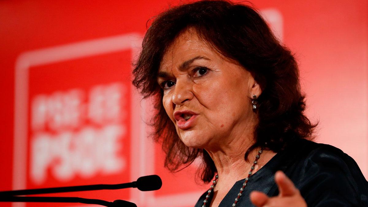 Carmen Calvo no cree que sea lógico alargar la prisión preventiva de los líderes independentistas