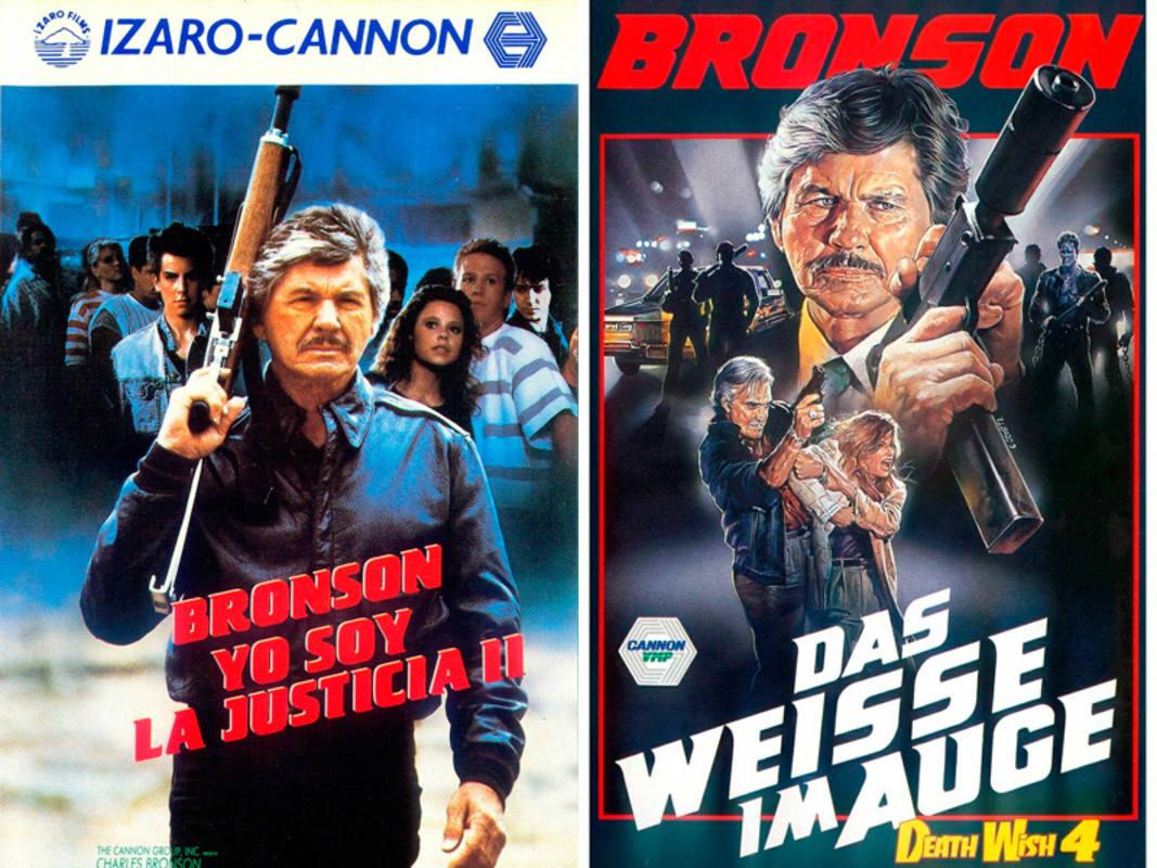 Carteles español y aleman de dos películas de la saga 'Yo soy la justicia', de Charles Bronson