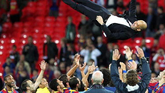 La celebración del Barça en Wembley
