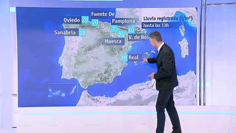 Chubascos y tormentas localmente fuertes en el litoral Cantábrico oriental, Cataluña, Baleares y este del Sistema Ibérico