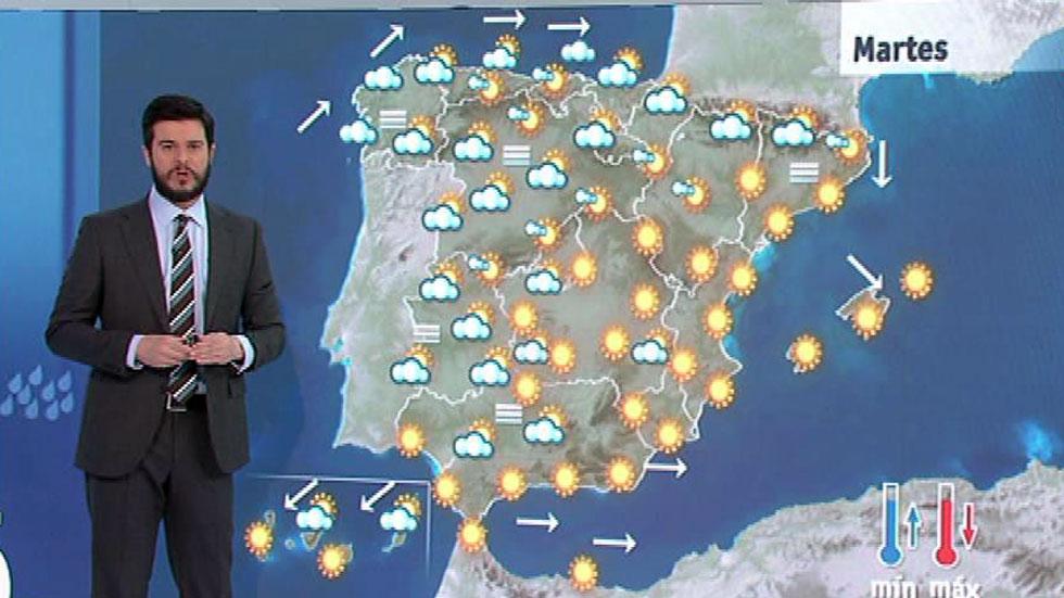 Cielo nuboso en el norte peninsular y temperaturas suaves para esta época