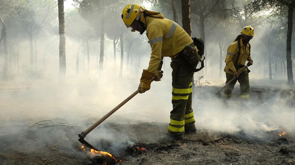 Cientos de efectivos han trabajado durante la noche para contener el fuego en Matalascañas