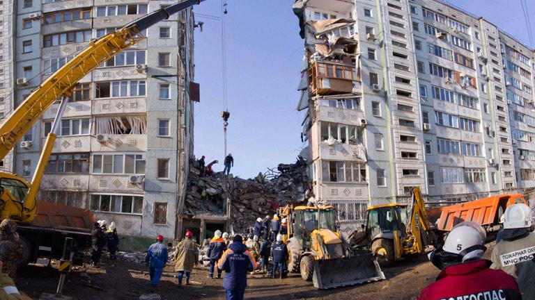 Cinco muertos en el desplome de un edificio de viviendas en Rusia