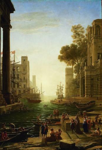 Claudio de Lorena (hacia 1600¿1682). 'Paisaje con el embarque de Santa Paula en Ostie' (1639-1640). Óleo sobre tabla del Museo Nacional del Prado.