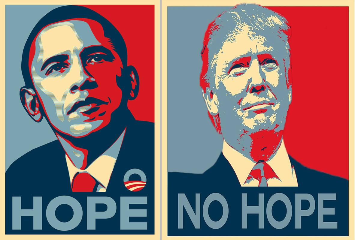 Combinación de imágenes: izquierda, imagen viral de la campaña de Barack Obama en 2008 y el lema