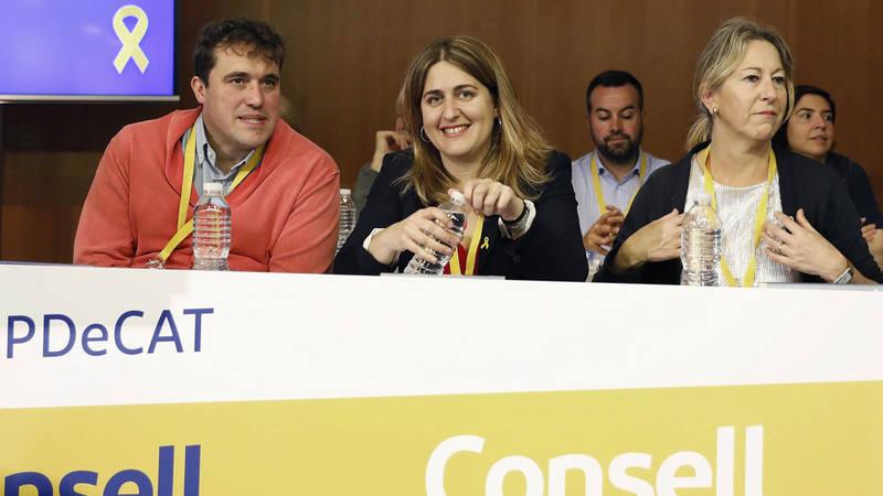La coordinadora general del PDeCAT, Marta Pascal , el coordinador de organización, David Bonvehí y la presidenta del partido, Neus Munté