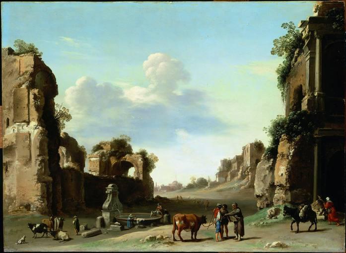 Cornelis van Poelenburgh (c.1586-1667). 'Vista del Campo Vaccino' (1620). Óleo sobre cobre. Museo del Louvre.