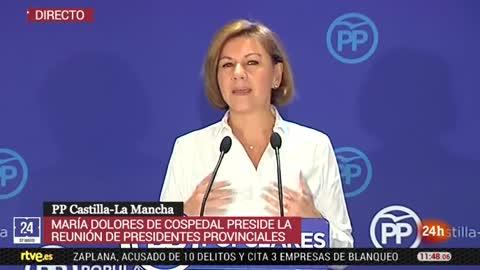 """Cospedal, a Sánchez: apoyarse en los separatistas para gobernar le convierte en """"enemigo"""" del Estado de Derecho"""
