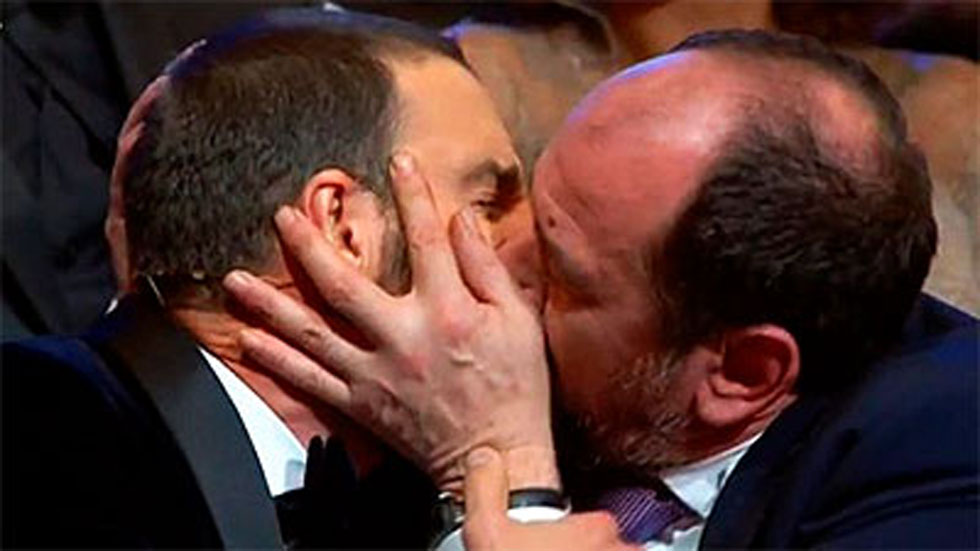 Dani Rovira bromea con Antonio de la Torre y Karra Elejalde en los Premios Goya 2017