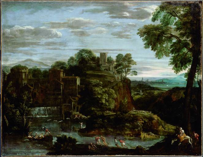 Domenico Zampieri, Dominichino (1581-1641). 'Paisaje con la huida de Egipto' (hacia 1621-1623). Óleo sobre lienzo. Museo del Louvre.