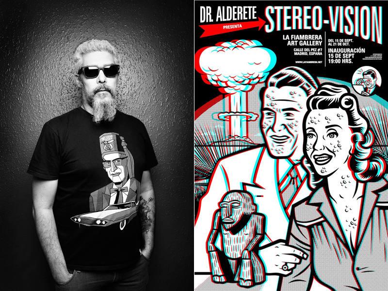 Dr. Alderete y cartel de la exposición 'Stereo-Vision'