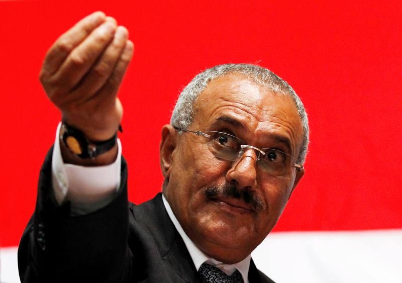 El expresidente de Yemen Alí Abdalá Saleh, durante un mitin celebrado en Saná en 2011