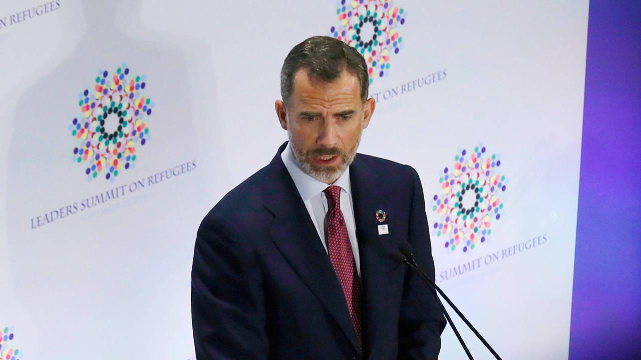 Felipe VI durante su intervención en la Reunión de Alto Nivel para los Refugiados.