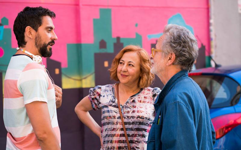 Fernando Colomo con Paco León y Carmen Machi