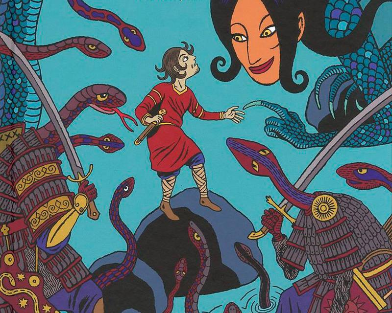 Fragmento de una ilustración de 'Hâsib y la reina de las serpientes'