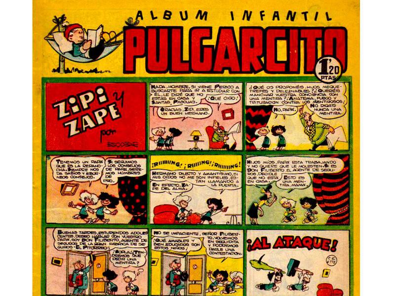 Fragmento de una portada de 'Pulgarcito' con Zipi y Zape
