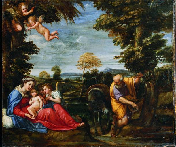 Francesco Albani, 'El Albano' (1578-1660). 'Descanso en la huida a Egipto' (hacia 1607). Óleo sobre tabla prestado por el Museo de Arte de la Princeton University.