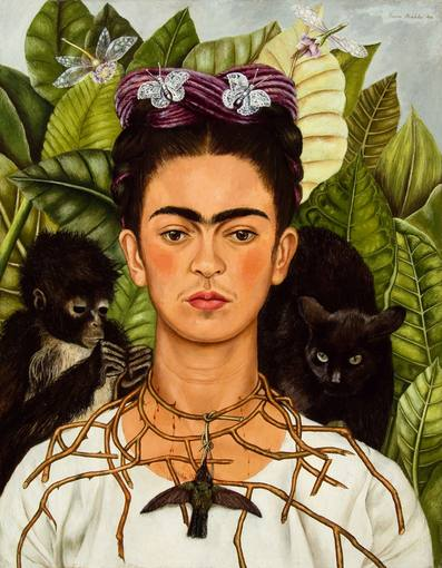 Frida Kahlo. 'Autorretrato con collar de espinas y colibrí' (1940). Harry Ransom Center, The University of Texas at Austin (Nickolas Muray Collection) / VEGAP 2011, Madrid.