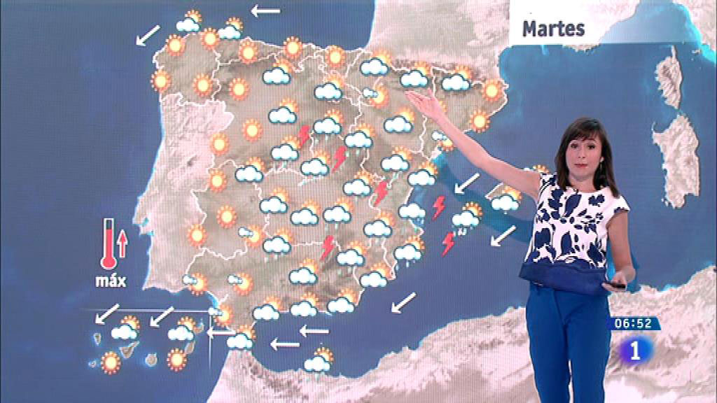 Fuertes chubascos y tormentas este martes en el centro y en Levante