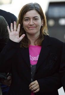 Alicia Gamez gestures during her arrival at Barcelona's airport