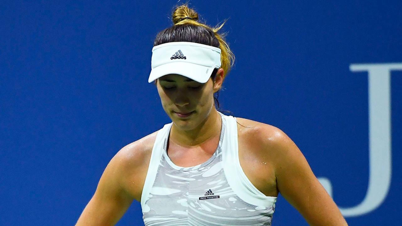 Garbiñe Muguruza durante su partido contra la letona Anastasija Sevastova en la segunda ronda del US Open.