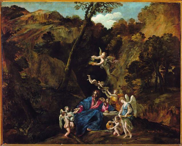 Giovanni Lanfranco (1582-1647). 'Cristo en el desierto servido por los ángeles' (1616-1617). Óleo sobre lienzo cedido por el Museo de Capodimonte de Napolés.