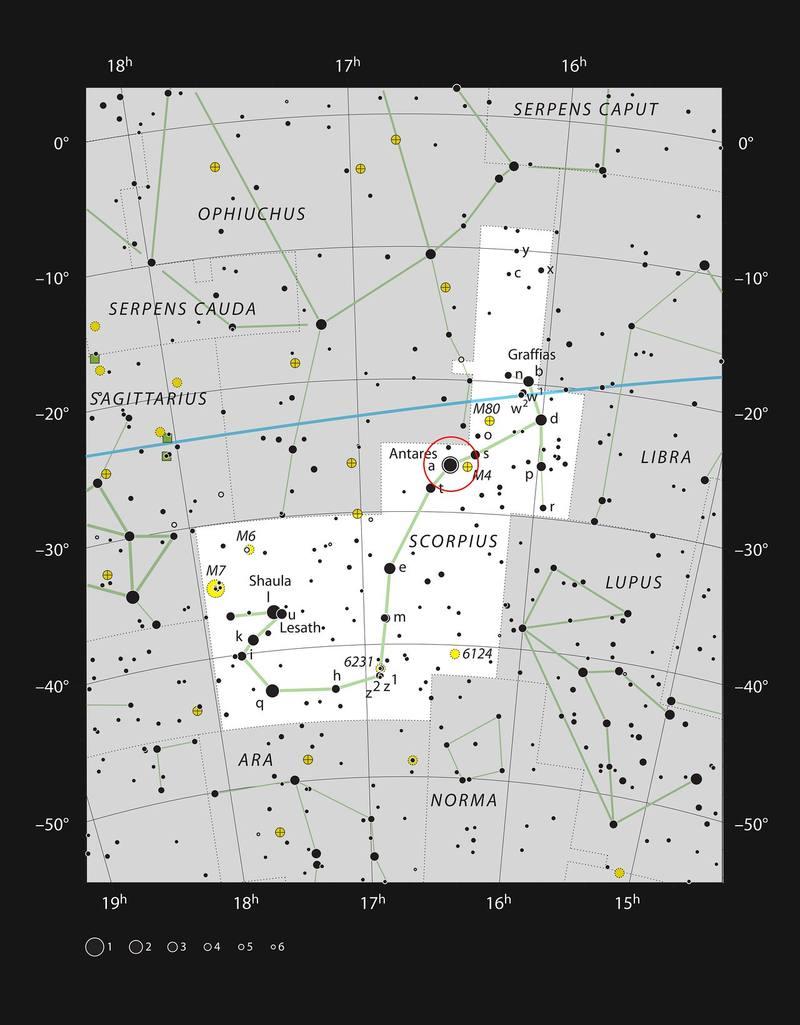 Gráfico que muestra la constelación de Escorpio. En el corazón de este grupo de estrellas se encuentra la supergigante roja Antares. ESO