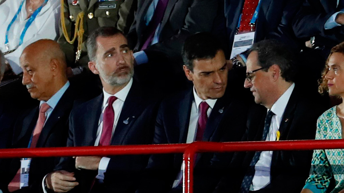 """Gritos de """"¡viva el rey!"""" y pitos a Quim Torra en la inauguración de los Juegos Mediterráneos en Tarragona"""