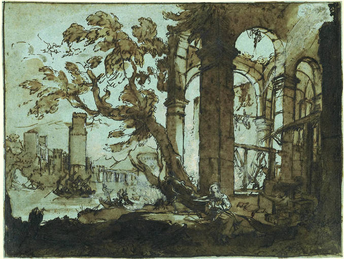 Claudio de Lorena (hacia 1600-1682). 'La tentación de San Antonio en Liber Veritatis 32' (1638). del Museo Británico de Londres.