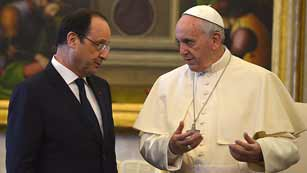 Hollande visita por primera vez al papa Francisco