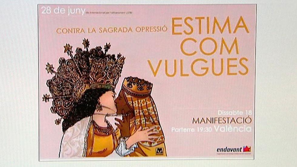 """La Iglesia considera """"propaganda blasfema"""" un cartel donde aparecen dos vírgenes besándose"""