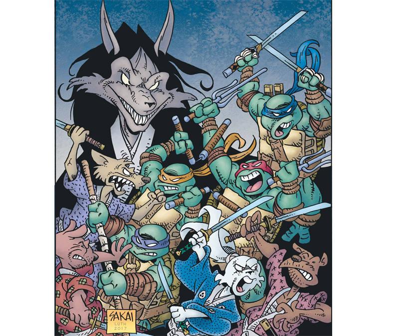 Ilustración de 'Usagi Yojimbo & las Tortugas Ninja'